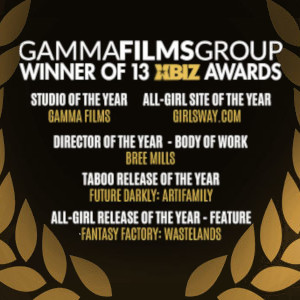 A listing of the GammaFilms Groups XBiz Awards wins, surrounded by golden Laurels.