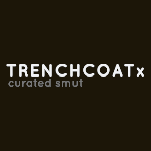 A simple black TRENCHCOATx logo on black background.