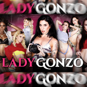 The Lady Gonzo ad featuring Joanna Angel holding a camera. Oh, and hot women semi-nude in the background.