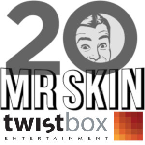 Mashup with Twistbox at the bottom and the 20-year-anniversary logotype for Mr.Skin dominating the upper two-thirds ov a square illustration.