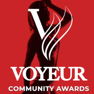 The silhouette of a dancing woman against a red background over-laid with the Voyeur Community Awards logo.