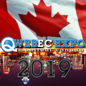 The Qwebec Expo logo over a Canadian flag above Montreal's reflection in the St-Lawrence river, with the year emblazoned over it all.
