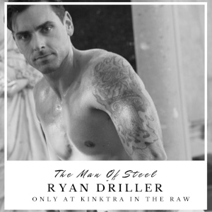 A black & white publicity shot of the handsome, tattooed Ryan Driller in a polaroid-like frame.
