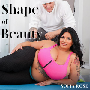 Promo pic for her new scene, featuring Sofia Rose in leotards and a tight pink athletic top reclining on the ground beneath the eyes of her hunky white-dressed trainer.