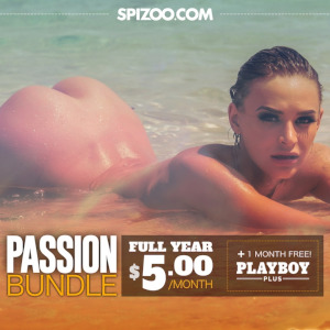 An ad for the Spizoo Valentine's Day bundle featuring a nude woman lying in shallow surf, her bottom protruding sexily from the waves.
