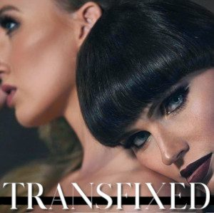 Detail from the original ad for Transfixed, featuring Natalie Mars in dramatic closeup, her head against, in the background, Riley Reyes' shoulder.