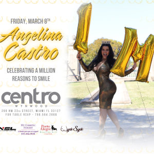 A full-blown event poster for Angelina Castro's million Instagram followers, featuring the star in a tight gold dress holding up giant inflated 1 and M balloons.