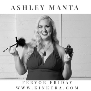 A black & white promo photo of curvy blonde Ashely Manta, holding up things that look like an antique perfume bottle and a fluffy powder applicator.