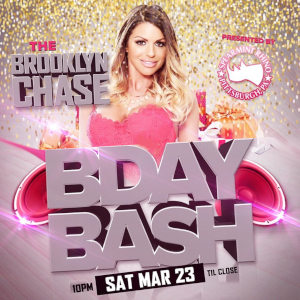 Detail from the poster advertising Brooklyn Chase's appearance at the Spearmint Rhino.