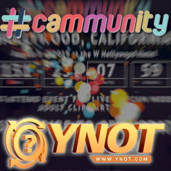 A faded, zooming background screensot of the CAMMUNITY site page with the hashtag-cammunity logo and YNOT logos superimposed.