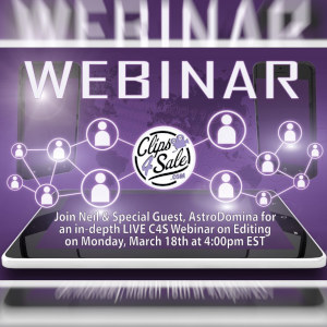 The Clips4Sale Webinar logo and infographic illustration.