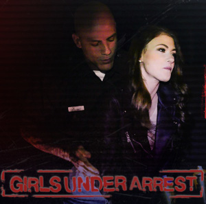 A dramatic image from Girls Under Arrest, featuring a carceral agent behind a distraught looking beautiful young woman.