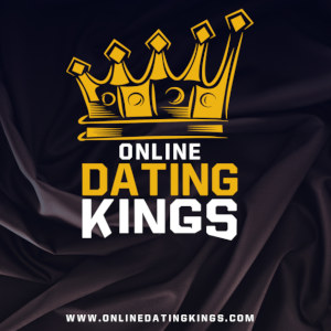 Graphical image of Online Dating Kings logo with crown over dark satin sheets.
