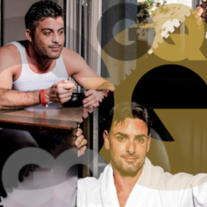 Collage of photos of Lance Hart and Ryan Driller from GQ interview with the GQ logo superimposed all over the place.