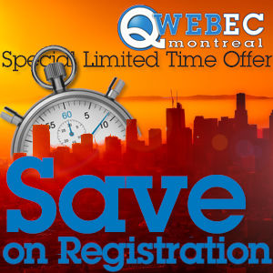 The Qwebec Expo Montreal logo above the city skyline in amber silhouette as a sun rise above the horizon.nd stopwatch