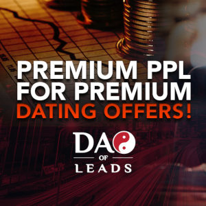 Advertising for new payouts on Dating Offers from DAO of Leads, featuring it's very cool logo.