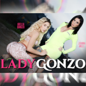 Abella Danger and Joanna Angel pose in tight, sexy outfits for the Lady Gonzo ad.