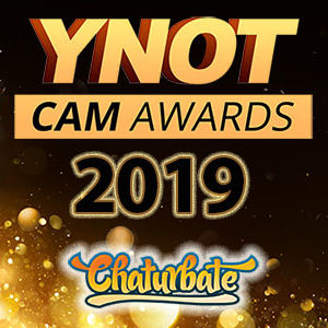 The YNOT Cam Awards 2019 logo floating above the Chaturbate logotype.