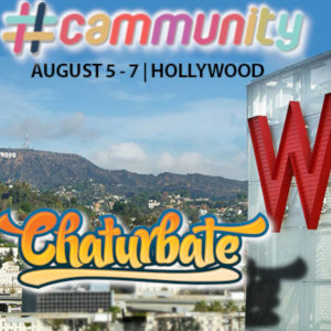 A photo of the Hollywood hills with the Cam Model summit's logo in the sky above, the W hotel in the right foreground, and the Chaturbate logotype in front, its shadow touching the edge of the building.