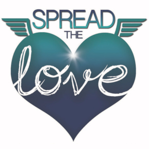 "The 2019 logo and graphic for #SpreadTheLove, featuring a gleaming metallic-blue heart with small wings and ""Love"" featured in cursive in its surface."