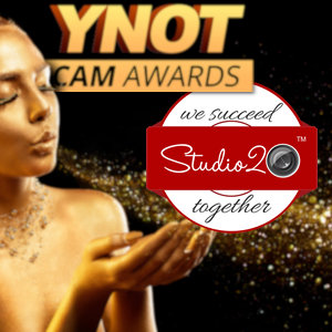 Graphic montage: The YNOT Cam Awards golden lady in front of the YNOT Cam Awards logo blowing gold stardust towards the Studio20 logo.