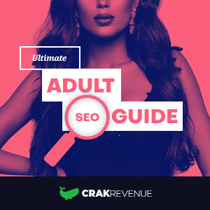 Graphic art with sexy lady background advertising CrakRevenue's SEO guide, with the whale logo below.