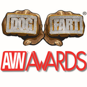 The two-fisted Dogfart logo above the AVN Awards logo.