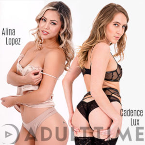 Alina Lopez and Cadence Lux in lingerie posing against a white background. Hawt!