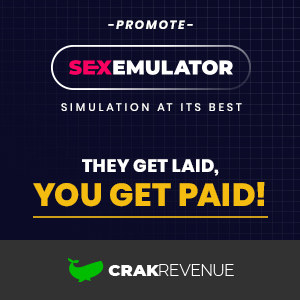 Graphic ad with the CrakRenenue and SexEmulator logos.