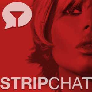 Stripchat logo with inquiring sexy woman's face in red-tinged closeup.