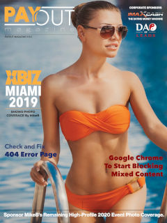 Cover of Payout Magazine Volume 10.01 feauring babe in sunglasses and a strapless orange bikini.