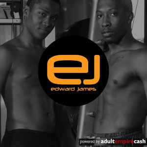 A black & white photo of two taut and topless black men with the Edward James logo popped in over them.