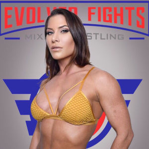 A photo of Ariel X in a golden body-builder bikini in front of the Evolved Fights banner and logo.