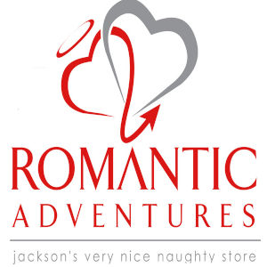 Simple, elegant graphic with the Romantic Adventures sex shop in Jackson, MS.