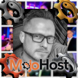 A photo montage with Keith Summit in black & white surrounded by MojoHost logos.