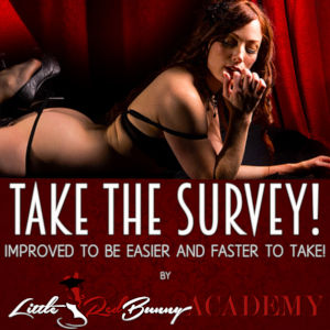 LittleRedBunny lying on her belly in black lingerie over her logo and a Take The Survey title card.