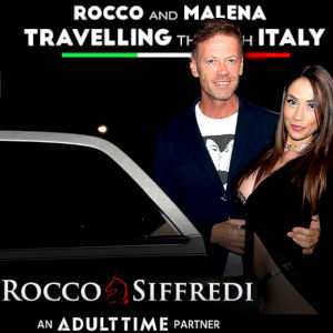 A photo of Rocco Siffredi and Malena standing by an open limo door, with the title and Adult Time logo above.