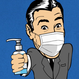 The Mr. Skin toon logo guy wearing a surgical mask and brandishing a bottle of hand-sanitizer.