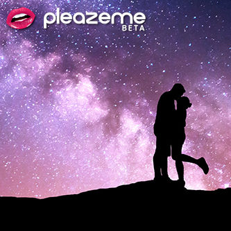 A photo of a couple embracing in silhouette against a purple-tinged star-clustered sky, with the PleazeMe logo in he upper left corner.