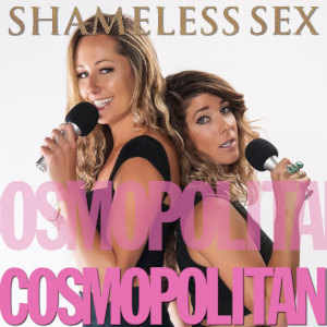 Amy Baldwin and April Lampert back-to-back holding a microphone each with their logo above and the Cosmopolitan logo below.