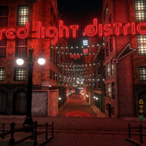 "A stylized image of a red-tinged back-alley lane with ""red light district"" hung above it in neon."