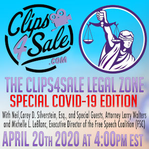 Detail from the promo poster for the Clips4Sale Legal Zone online video show.
