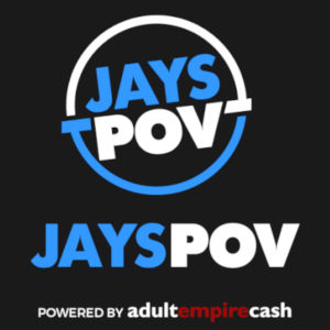 Graphic of Jay's POV logo, with the Adult Empire Cash powered-by below.