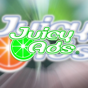 The JuicyAds logo in earth-day green, over a stylized, blurred version of the original.