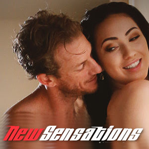 A promo photo featuring two sexy performers together with the New Sensations logo below.