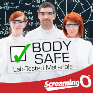 A stock-photo image of three generic scientists standing before a blackboard with the Screaming O down below.