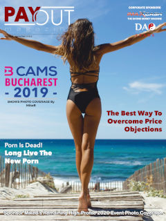 Cover of Payout Maga\ine Online, Volume 10.02, featuring a fit-looking woman walking towards the ocean with her arms spread wide.