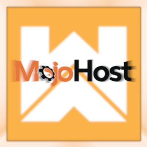 Graphic image with the MojoHost logotype zooming out over the Webmaster Access logo.