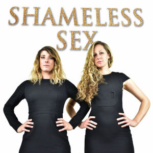 A low angle shot of the hosts under the Shameless Sex logo.