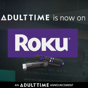 A graphic mashup of the AdultTime and Roku logos.